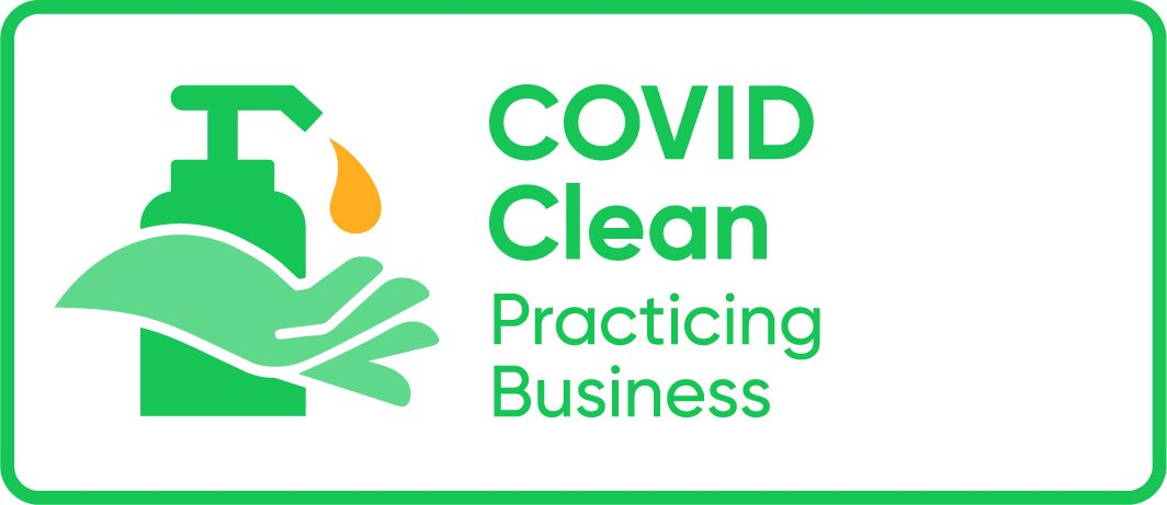 Covid Clean Practicing Business Logo