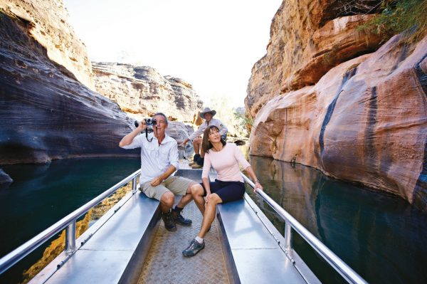 Couple in boat in Cobbold Gorge